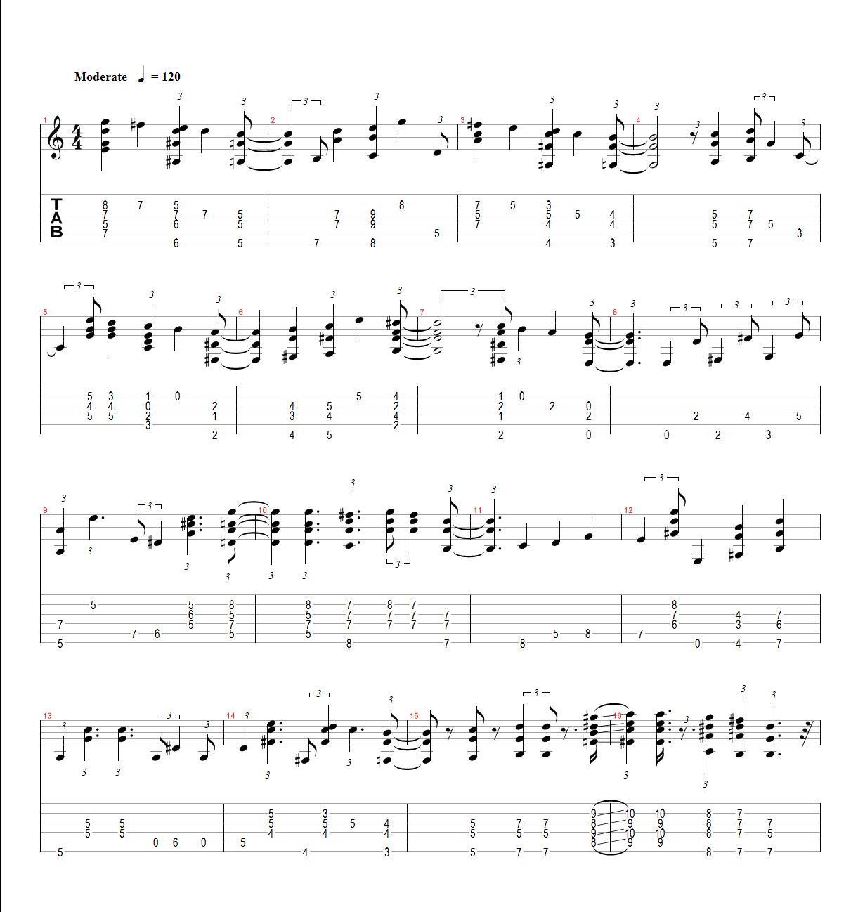 Fly Me To The Moon Fingerstyle Tab Yesiloveguitar